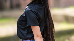 Asian Model Women Women Outdoors Long Hair Dark Hair Depth Of Field Black Shirt Skirt Bag Headphones 2560x3840 Wallpaper