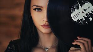 Sergey Fat Women Kseniya Alekseevskaya Dark Hair Vinyl Portrait Necklace Red Nails Green Eyes 1920x1080 Wallpaper
