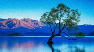 Artistic Lake Mountain 3840x2160 Wallpaper