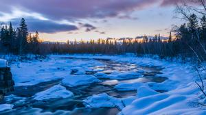 Nature Quebec Ice Snow River Trees Landscape Winter 2400x1506 Wallpaper