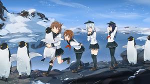 Akatsuki Kancolle Hibiki Kancolle Ikazuchi Kancolle Inazuma Kancolle Mountain Penguin Snow 1932x966 Wallpaper