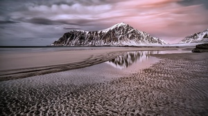 Beach Cloud Mountain Nature Reflection Sand 2000x1261 Wallpaper