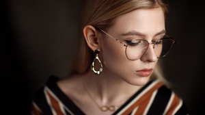 Sergey Sorokin Women Blonde Long Hair Straight Hair Makeup Eyeliner Glasses Jewelry Earring Stripes  1800x1200 Wallpaper