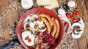 Food Sausage Tomatoes Bratwurst Beans Mushroom Bread Onion Chilli Peppers Salt Toast Wood Table 2560x1707 Wallpaper