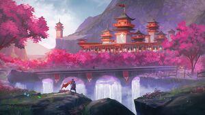 Sakura Tree Samurai Mountains Landscape Digital Art Temple 3840x2160 wallpaper