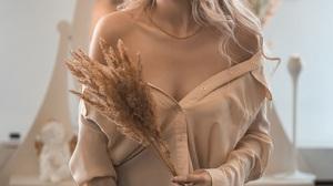 Vladimir Vasilev Women Blonde Long Hair Wavy Hair Shirt Plants Jeans Denim Indoors 1440x2160 Wallpaper