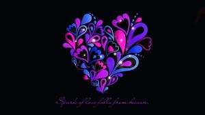 Artistic Blue Heart Love Purple Quote 1920x1080 Wallpaper
