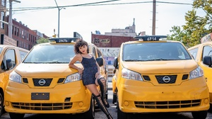 Women Women With Cars Nissan Car Vehicle Leaning Legs Looking At Viewer Women Outdoors Urban Yellow  2560x1707 Wallpaper