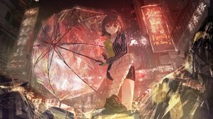 Anime Anime Girls Digital Art Artwork 2D Portrait Roki City Night Rain Umbrella Low Angle Short Hair 2048x1152 Wallpaper