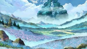 Landscape Anime Flowers Field Plants Sky Nature Fantasy Art 6174x3472 Wallpaper