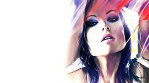 Olivia Wilde White Artwork Face Women Actress 3500x2185 Wallpaper