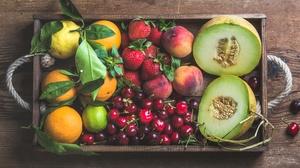 Cherry Fruit Mandarin Melon Peach Still Life Strawberry 4500x2783 Wallpaper