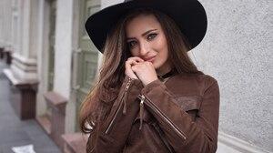 Blue Eyes Brunette Coat Hat Model Smile Veronika Avdeeva 2560x1707 Wallpaper