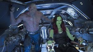 Dave Bautista Drax The Destroyer Gamora Guardians Of The Galaxy Vol 2 Zoe Saldana 5760x3840 wallpaper