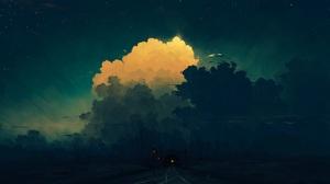 Digital Painting Midnight Train Tunnel Sky Clouds BisBiswas 1920x1080 Wallpaper