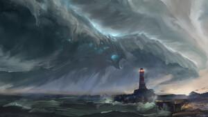 Artwork Fantasy Art Sea Storm Lighthouse 1920x1045 Wallpaper