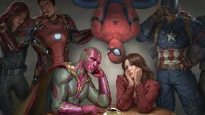 Black Widow Captain America Iron Man Marvel Comics Peter Parker Scarlet Witch Spider Man Superhero V 3840x2400 wallpaper