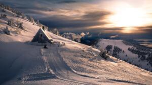Winter Mountain Sunset Pine Tree 2000x1098 wallpaper