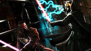 Glove Hood Lightning Lightsaber Mask Purple Lightsaber Red Lightsaber Sith Star Wars Star Wars 1280x1024 wallpaper