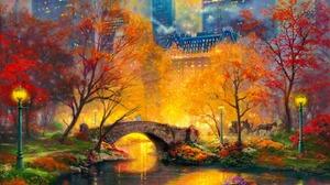Bridge Horse Drawn Vehicle Lamp Post River 1600x1200 Wallpaper