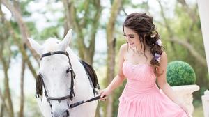 Woman Model Girl Horse Pink Dress Smile Brunette 2048x1291 Wallpaper