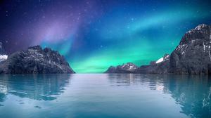 Aurora Borealis Rock Sea 3840x2160 Wallpaper