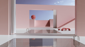 Water Sky Clouds Tiles Pink 3D White Stairs Liminal Surreal 1440x1440 Wallpaper