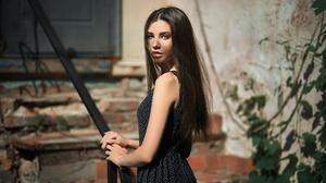 Black Hair Dress Girl Long Hair Model Woman 2157x1440 Wallpaper
