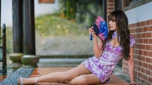 Asian Model Women Women Outdoors Long Hair Dark Hair Depth Of Field Nylons Sandals Traditional Cloth 2560x1707 Wallpaper
