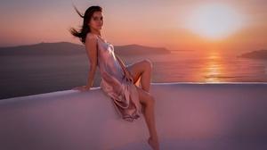 Model Women Dress Brunette Legs Feet Bare Shoulders Barefoot Sunset Sitting Landscape Looking At Vie 2000x1287 Wallpaper