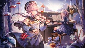 Violin Piano Pink Hair Purple Eyes Ribbon Snow Snowmen Anime Girls Harusame 7891x4528 Wallpaper