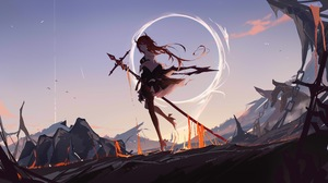 Anime Girls Arknights Ya Ju Long Hair 7700x4428 Wallpaper