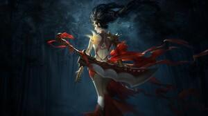Black Hair Long Hair Sword Tattoo Weapon Woman Warrior 2560x1379 Wallpaper