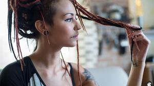 Women Model Profile Dreadlocks Piercing 4256x2833 Wallpaper