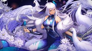 Huayounian Anime Anime Girls Birds Flowers Dress White Hair Long Hair Blue Eyes 6000x3000 Wallpaper