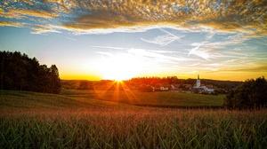 Bavaria Church Forest House Meadow Sunset Village 5596x3731 Wallpaper