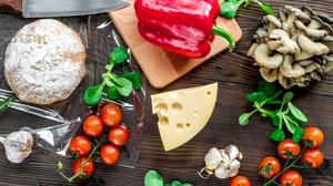 Cheese Mushroom Pepper Still Life Tomato 4000x2667 Wallpaper