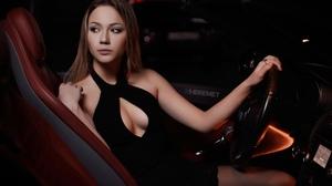 Irina Murchik Women Model Brunette Looking Away Portrait Inside A Car Vehicle Interiors Dress Black  2560x1709 wallpaper
