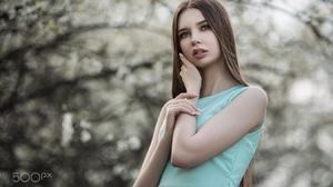 Women Long Hair Brunette Blue Dress 500px Vladimir Vasilev 1350x900 wallpaper