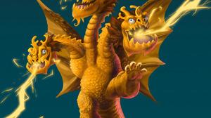 Godzilla King Ghidorah Humor Digital Art Kaiju Movies Gradient Creature 1280x1656 wallpaper