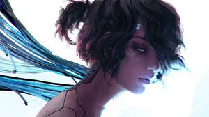 Rashed AlAkroka Women Cyborg Simple Background Long Neck Digital Art Drawing Hair Over One Eye White 2100x2100 Wallpaper