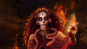 Girl Magic Snake Sugar Skull Witch Woman 1920x1200 Wallpaper