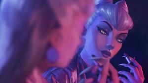Evelynn Evelynn League Of Legends Riot Games League Of Legends Lipstick Yellow Eyes Video Games 3840x2160 Wallpaper