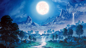 Artistic Forest Landscape Moon Mountain Painting Waterfall Winter 1920x1440 Wallpaper