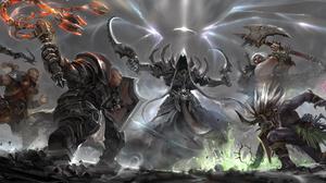 Barbarian Diablo Iii Crusader Diablo Iii Demon Hunter Diablo Iii Diablo Iii Reaper Of Souls Malthael 6000x2380 Wallpaper