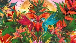 Parrot Flower Macaw 2880x1800 wallpaper