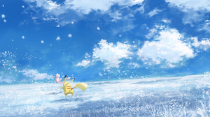Mew Pokemon Pikachu Sky 2835x1188 Wallpaper