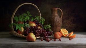 Basket Grapes Pear Pitcher Still Life Orange Fruit 2048x1304 wallpaper