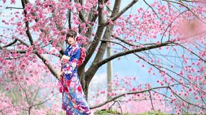 Woman Model Brunette Kimono Blossom 4562x3041 Wallpaper