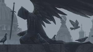 Alexey Egorov Digital Art Fantasy Art Sword Monochrome Dove Western Architecture 1705x800 wallpaper